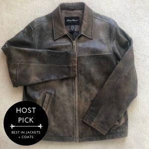 🌟HP🌟 VTG Distressed Leather Jacket